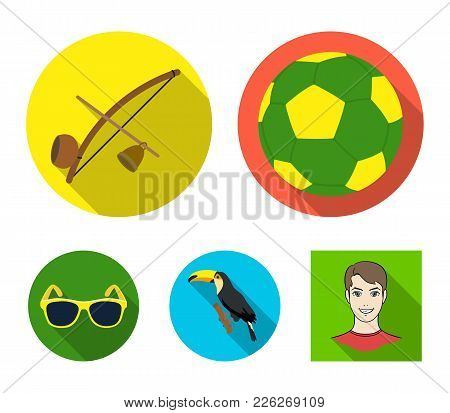 Brazil, Country, Ball, Football . Brazil Country Set Collection Icons In Flat Style Vector Symbol St
