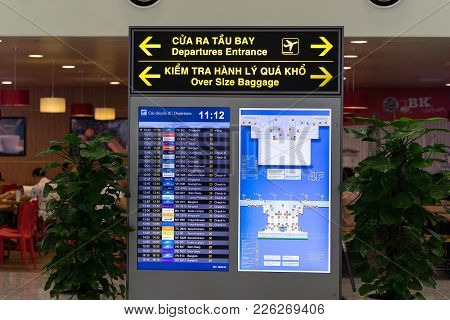 Hanoi, Vietnam - Apr 29, 2016: Airport Led Display For Departure Times And Destinations At Noi Bai I