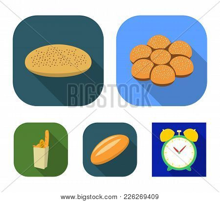 A Package With Bread, A Pizza Batch, A Loaf, A Bun.bread Set Collection Icons In Flat Style Vector S