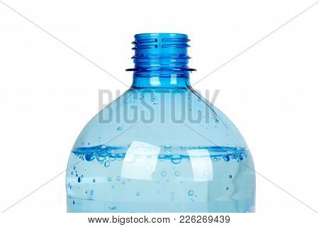 Eco Plastic Bottle With Water, Isolated On White Background.