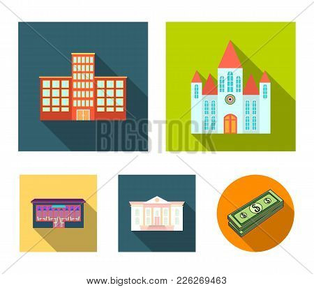 Church, Hospital, Cafe, Museum.building Set Collection Icons In Flat Style Vector Symbol Stock Illus
