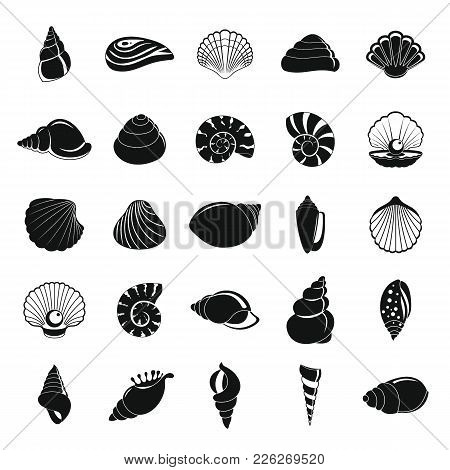 Sea Shell Icons Set. Simple Illustration Of 25 Sea Shell Vector Icons For Web