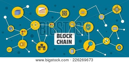 Block Chain Banner. Flat Illustration Of Block Chain Vector Banner For Web
