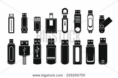 Usb Flash Drive Icons Set. Simple Illustration Of 16 Usb Flash Drive Vector Icons For Web