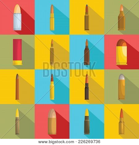 Bullet Gun Military Icons Set. Flat Illustration Of 16 Bullet Gun Military Vector Icons For Web