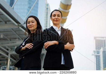 Two Smiling Business Image Photo Free Trial Bigstock