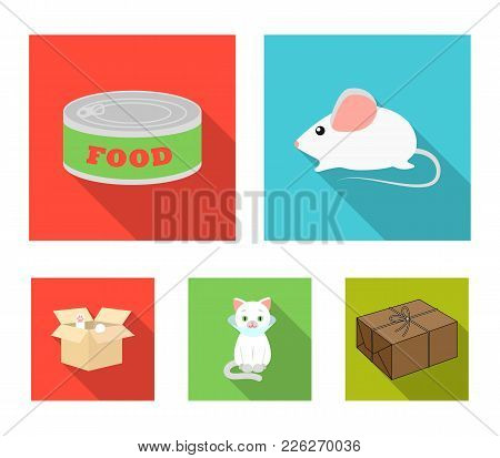 Mouse, Food In The Bank, Sick Cat, Cat In The Box.cat Set Collection Icons In Flat Style Vector Symb