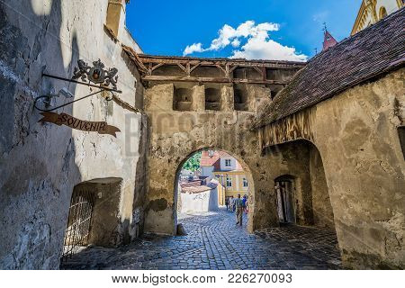 Sighisoara, Romania - July 4, 2016: Barbacan Of Historical Clock Tower Building On The Old Town Of S