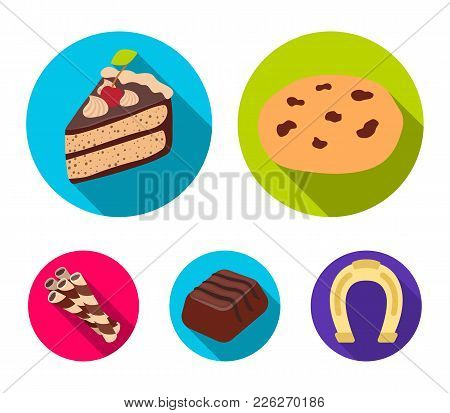 American Cookies, A Piece Of Cake, Candy, Wafer Tubule. Chocolate Desserts Set Collection Icons In F