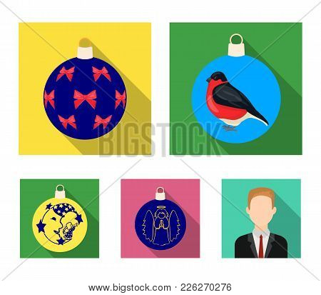 New Year's Toys Flat Icons In Set Collection For Design.christmas Balls For A Treevector Symbol Stoc
