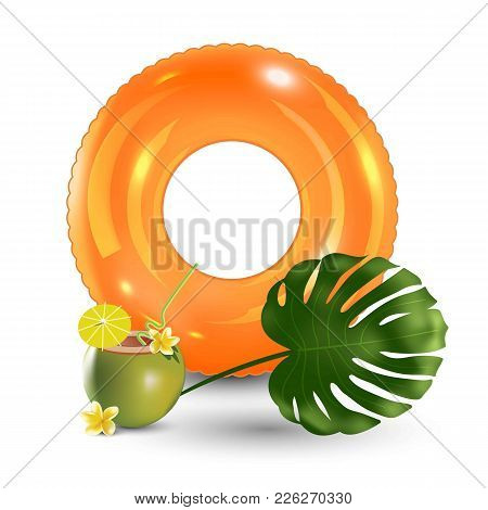Summer Vacation, Beach Party Realistic 3d Objects Isolated. Travelling Tourism Holiday Time Illustra
