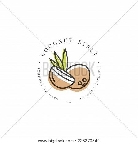 Packaging Design Template Logo And Emblem - Syrup And Topping - Coconut. Logo In Trendy Linear Style