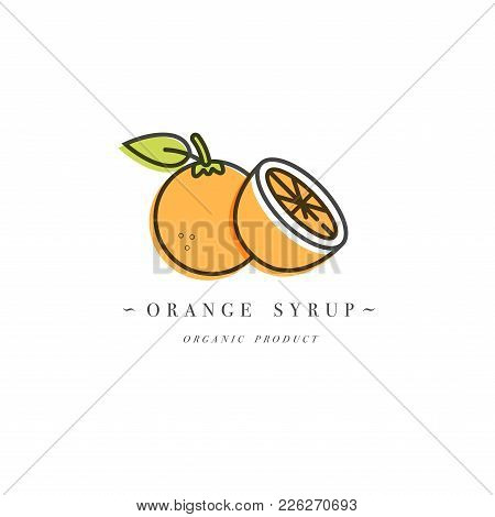Packaging Design Template Logo And Emblem - Syrup And Topping - Orange. Logo In Trendy Linear Style