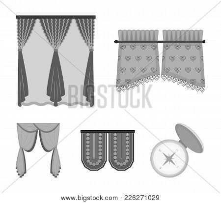 Curtains, Stick, Cornices, And Other  Icon In Monochrome Style.bow, Fabric, Tulle Icons In Set Colle
