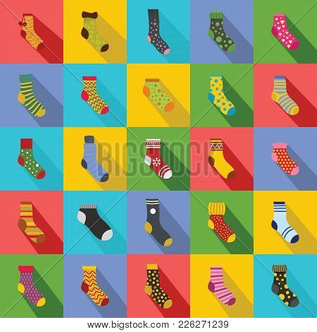 Socks Textile Icons Set. Flat Illustration Of 25 Socks Textile Vector Icons For Web