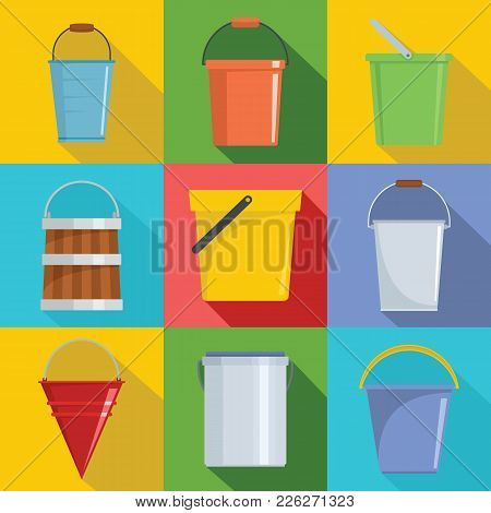 Bucket Types Container Icons Set. Flat Illustration Of 9 Bucket Types Container Vector Icons For Web