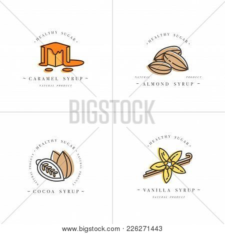 Vector Set Design Colorful Templates Logo And Emblems - Syrups And Toppings-caramel, Almond, Cocoa,