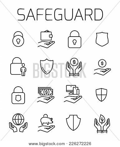 Safeguard Related Vector Icon Set. Well-crafted Sign In Thin Line Style With Editable Stroke. Vector