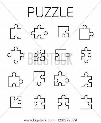 Puzzle Related Vector Icon Set. Well-crafted Sign In Thin Line Style With Editable Stroke. Vector Sy