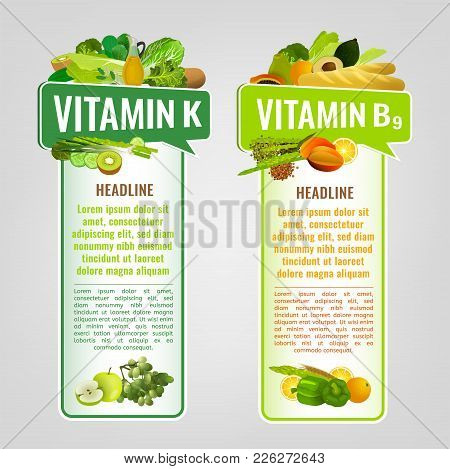 Vitamin K And Vitamin B9 Banners With Place For Text. Vertical Vector Illustrations With Caption Let