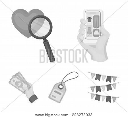 Hand, Mobile Phone, Online Store And Other Equipment. E Commerce Set Collection Icons In Monochrome