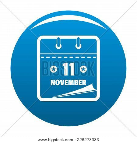 Calendar Eleventh November Icon Vector Blue Circle Isolated On White Background
