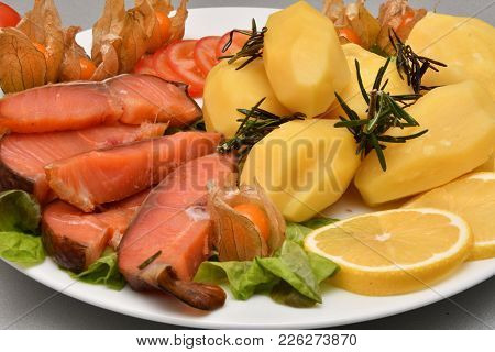 Chinook Salmon Cold Smoking With Cooked Potatoes
