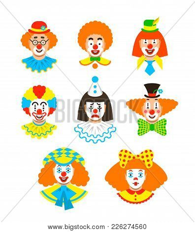 Clown Faces Different Avatars. Vector Flat Icons. Cartoon Illustration. Circus Men And Girl Smiling