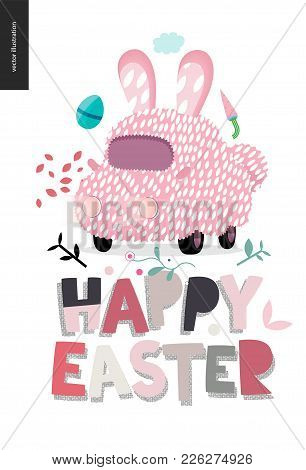 Happy Easter Lettering And Decorated Bunny Car With Ears, Egg, Carrot, Petals, Cloud, Plants