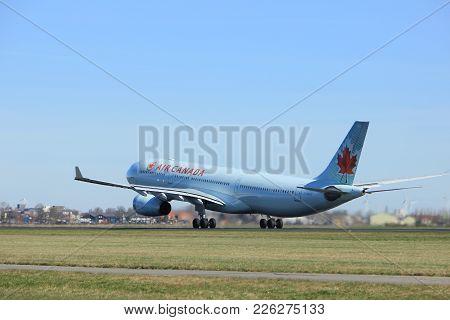 Amsterdam The Netherlands - March 25th, 2017: C-gfaj Air Canada Airbus A330-300 Takeoff From Polderb