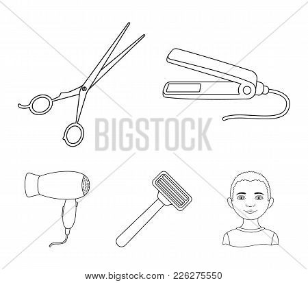 Hair Dryer, Hair Straightener, Razor. Hairdresser Set Collection Icons In Outline Style Vector Symbo