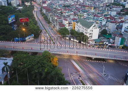 Hanoi, Vietnam - Aug 5, 2015: Aerial View Of Intersection Nguyen Chi Thanh Street Crossing Kim Ma St