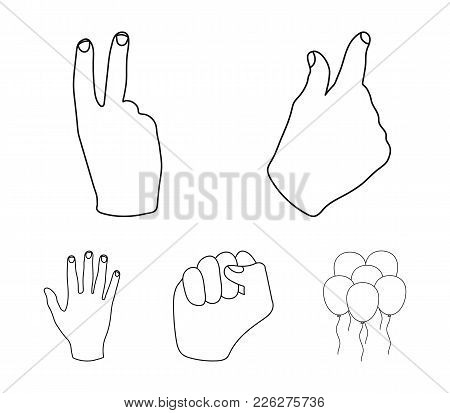 Open Fist, Victory, Miser. Hand Gesture Set Collection Icons In Outline Style Vector Symbol Stock Il