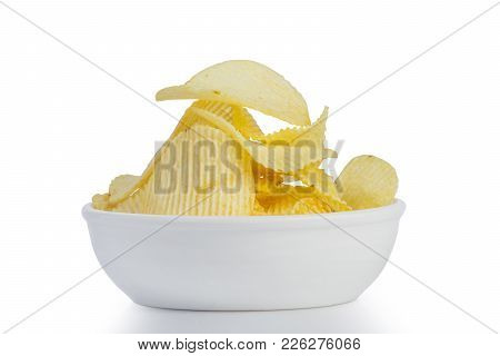 Close Up Fried Potato Chips Snack In White Bowl Isolated On White Background, Junk Food. File Contai