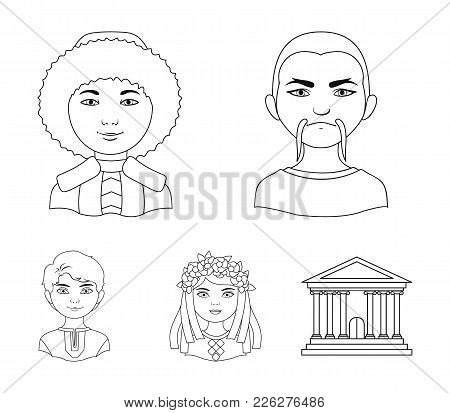 Chinese, Ukrainian, Russian, Eskimo. Human Race Set Collection Icons In Outline Style Vector Symbol