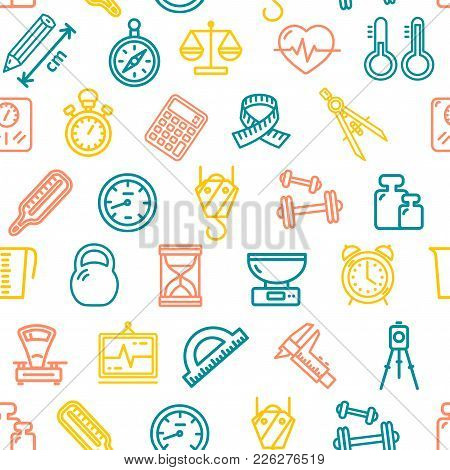 Measurement Signs Seamless Pattern Background On A White Measuring Equipment For Web And App Design.