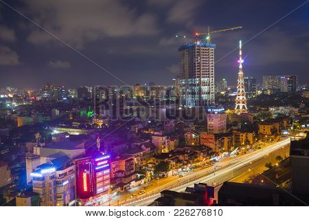 Hanoi, Vietnam - Aug 5, 2015: Aerial View Of Nguyen Chi Thanh Street, Cau Giay District At Night. Co