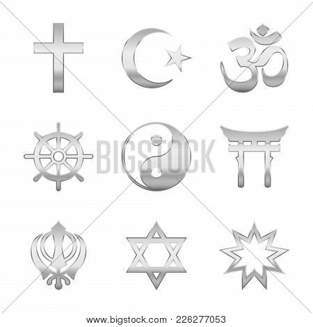 Religion Symbols. Silver Signs Of Major World Religious Groups And Religions. Christianity, Islam, H
