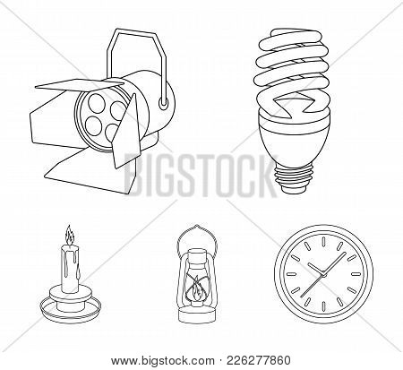 Economy Lamp, Searchlight, Kerosene Lamp, Candle.light Source Set Collection Icons In Outline Style