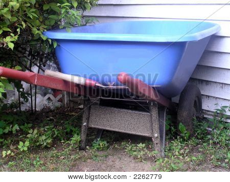Blue Garden Wheelbarrow Red Handles
