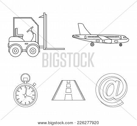 Cargo Aircraft, Forklift, Stopwatch, Road.logistic Set Collection Icons In Outline Style Vector Symb