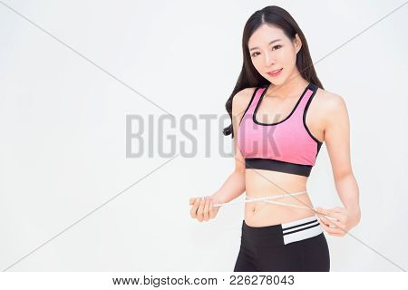 Diet Fitness Exercise Sport Sexy Body Asian Woman With Measuring Tape, Dieting, Fitness, Sport, Exer