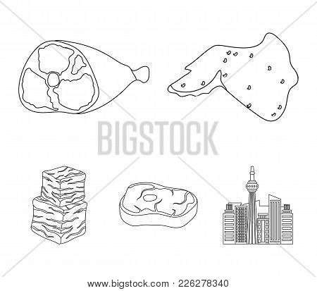 Chicken Wings, Ham, Raw Steak, Beef Cubes. Meat Set Collection Icons In Outline Style Vector Symbol
