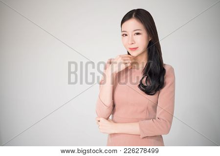 Beautiful Asian Woman Happy Smile With Casual Clothes On White Background. Smart, Beautiful, Mature,