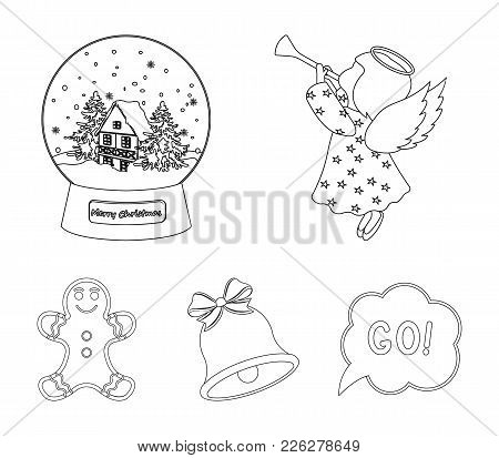 Angel, Glass Bowl, Gingerbread And Bell Outline Icons In Set Collection For Design. Christmas Vector