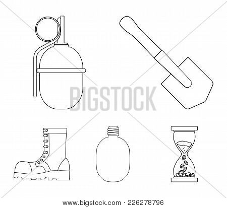 Sapper Blade, Hand Grenade, Army Flask, Soldier's Boot. Military And Army Set Collection Icons In Ou