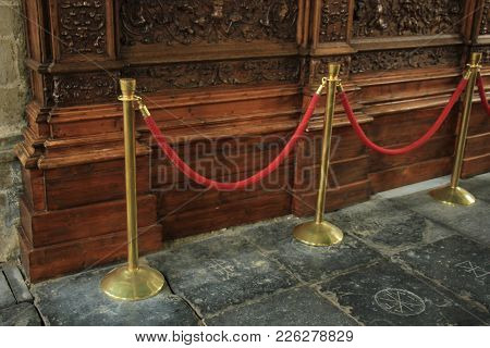 Copper Red Rope Barriers On Vip Entrance