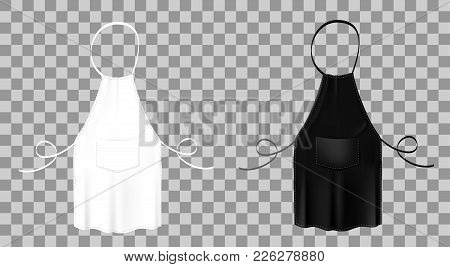 Front View Of The Blank White And Black Kitchen Aprons With Neck Straps, Waist Ties And Pockets. Vec