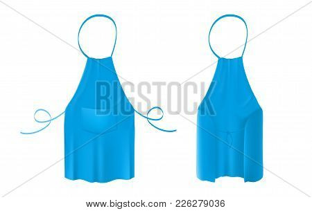 Front And Back Views Of The Blank Blue Kitchen Apron With Neck Strap, Waist Ties And A Pocket. Vecto