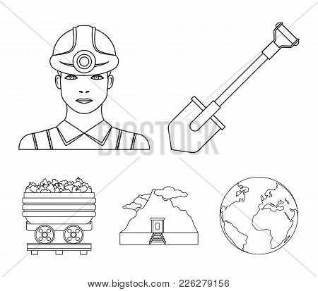 A Shovel, A Miner, An Entrance To A Mine, A Trolley With Coal.mine Set Collection Icons In Outline S